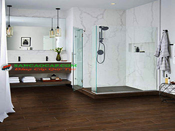 Lắp đặt sàn nhựa nhập khẩu cao cấp cho phòng tắm.